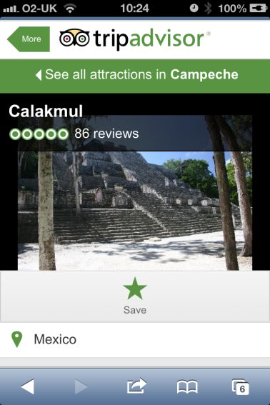A screenshot of Calakmul ruins on Trip Advisor with a 5 star review