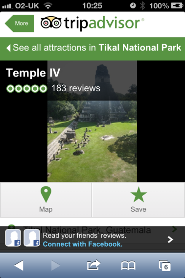 A screenshot of Tikal ruins with a five star review on Trip Advisor